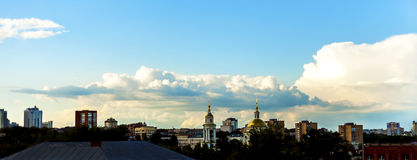 Panorama City Orla. Residential buildings in the photo center and the Orthodox Church Stock Image