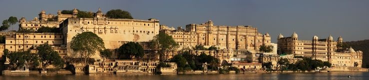 Panorama of City Palace complex, Udaipur, India Royalty Free Stock Photo