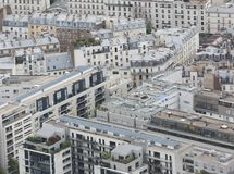 panorama of the city of Paris from the Eiffel tower stock images