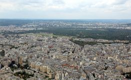 panorama of the city of Paris in France from the Eiffel tower royalty free stock image