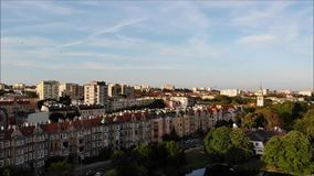 Panorama of the city with a park and a pond stock footage