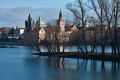 Panorama city Prague with island, trees and towers Stock Photography
