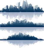 Panorama of city reflection. Blue vector cityscape Stock Photos