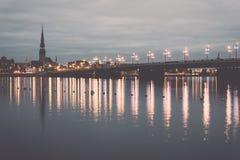 Panorama of the city of Riga, Latvia.. Vintage. Stock Photography