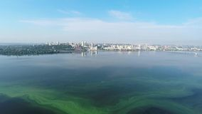 Panorama of the city and the river from a height stock video