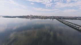 Panorama of the city and the river from a height stock video footage