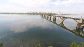 Panorama of the city and the river from a height stock footage