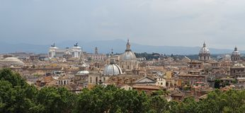 Panorama of the city of Rome seen from Castel San Angelo with th Stock Images