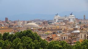 Panorama of the city of Rome seen from Castel San Angelo with th Royalty Free Stock Photos