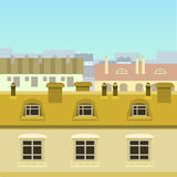 Panorama of city roofs. Panorama of colorful city roofs with blue sky Royalty Free Stock Photo