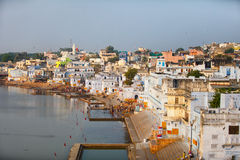 Panorama of the city and sacred lake. India, Pushkar Stock Photography
