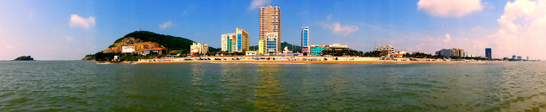 Panorama of City on the Seashore Royalty Free Stock Images