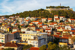 Panorama of the city of Sibenik and St. Michael's Fortress Royalty Free Stock Photography