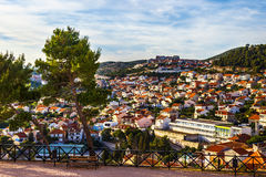 Panorama of the city of Sibenik from St. Michael's Fortress. Croatia Stock Photos