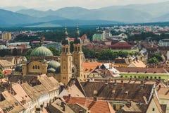 Panorama, city of Sibiu, beautiful historic town in Romania Stock Images