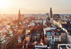 Panorama of the city skyline at sunset Wroclaw, Poland Stock Photos