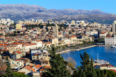 Panorama of city Split in Dalmatia. Panoramic view of city of Split in Southern Croatia, Dalmatia. This is a view of the old part of town Royalty Free Stock Image