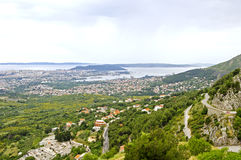 Panorama of city Split from fortress Klis - Croatia Stock Images