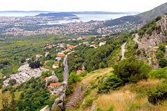 Panorama of city Split from fortress Klis - Croatia Royalty Free Stock Photos