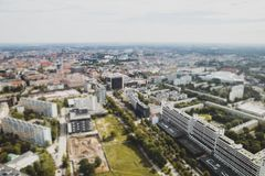 Panorama of city, tilt shift effect. Panorama of city Wroclaw Poland against the gray sky, tilt shift effect stock image