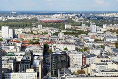Panorama of the city. Urban fabric - in theory and urban sociology term used to describe the structure of a regular building characteristic of urban spaces. The Royalty Free Stock Images