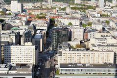 Panorama of the city. Urban fabric - in theory and urban sociology term used to describe the structure of a regular building characteristic of urban spaces. The Royalty Free Stock Image