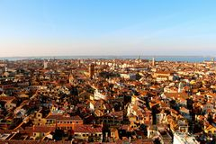 Panorama of the city of Venice. Panorama of the city of Venice immortalized since Saint Marc's bell tower. Situated on the St Mark's Square, it is the highest stock photo