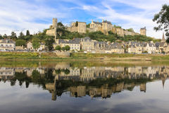 Panorama. City view and Fortress. Chinon. France. Panoramic view of the town and Fortress from the opposite shore of river Vienne. Chinon. France Royalty Free Stock Photos