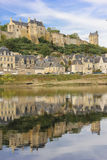Panorama. City view and Fortress. Chinon. France. Panoramic view of the town and Fortress from the opposite shore of river Vienne. Chinon. France Royalty Free Stock Images