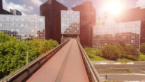 Panorama city view of modern glass buildings stock footage