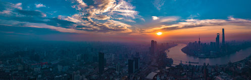 Panorama City View of the SHANGHAI,CHINA Royalty Free Stock Images