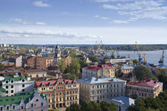 Panorama of the city of Vyborg stock images
