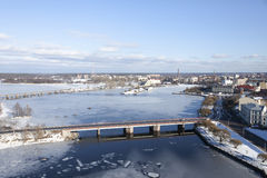 Panorama of a city  Vyborg in sunny spring day Stock Photography