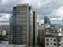 Panorama City. Warsaw, apartment high-rise building, city center, Poland, tall buildings, close the center stock photography