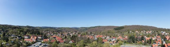 Panorama of the city Wernigerode with blue sky. Panorama of the city Wernigerode with houses and blue sky Stock Photo