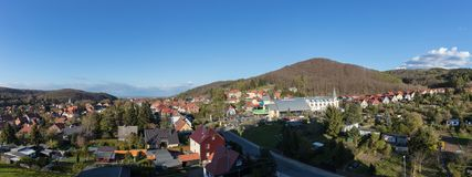 Panorama of the city Wernigerode with mountain Brocken. Panorama of the town Wernigerode with houses and the mountain Brocken Royalty Free Stock Photography