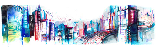 Panorama of  city. Winding road with a modern metropolis Royalty Free Stock Photos