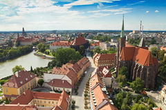 Panorama of the city of Wroclaw in Poland Royalty Free Stock Photos