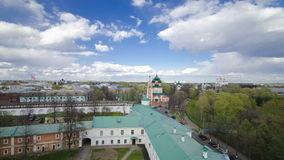 Panorama of the city of Yaroslavl timelapse from the bell tower of the Spaso-Preobrazhensky monastery. Blue cloudy sky at sunny day stock video footage