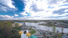 Panorama of the city of Yaroslavl timelapse from the bell tower of the Spaso-Preobrazhensky monastery. Blue cloudy sky at sunny day stock video