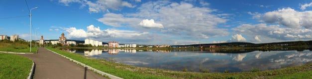 Panorama of the city of Zelenogorsk, Krasnoyarsk Region stock photography