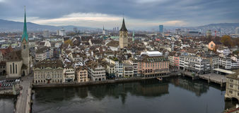 Panorama of the city of Zurich (Switzerland). Panoramic photo of the city of Zurich (Switzerland), bird's-eye view Royalty Free Stock Photography