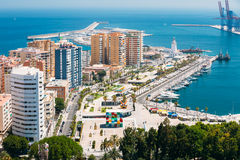 Panorama cityscape aerial view of Malaga, Spain Stock Photography