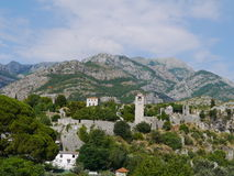 Panorama- cityscape av stången, Montenegro Arkivbilder