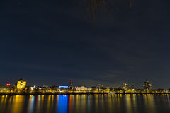 Panorama and cityscape of Cologne over the Rhine river at night Royalty Free Stock Image