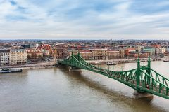 Panorama cityscape of famous tourist destination Budapest with Danube and bridges. Travel landscape in Hungary, Europe stock photography