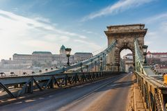 Panorama cityscape of famous tourist destination Budapest with Danube and bridges. Travel landscape in Hungary, Europe royalty free stock photography