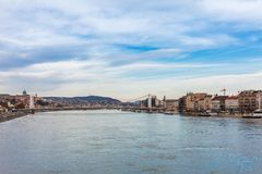 Panorama cityscape of famous tourist destination Budapest with Danube and bridges. Travel landscape in Hungary, Europe stock images