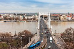 Panorama cityscape of famous tourist destination Budapest with Danube and bridges. Travel landscape in Hungary, Europe royalty free stock images