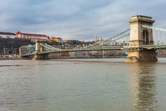 Panorama cityscape of famous tourist destination Budapest with Danube and bridges. Travel landscape in Hungary, Europe stock photo